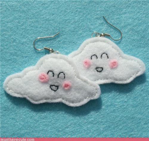 accessory,clouds,earrings,face,felt,happy,Jewelry,smile