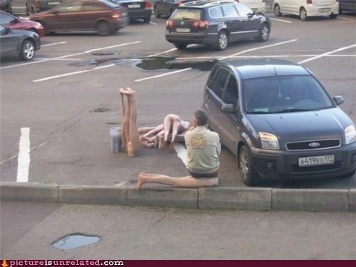 cars disaster Mannequins old guy parking lot wtf - 3485829376
