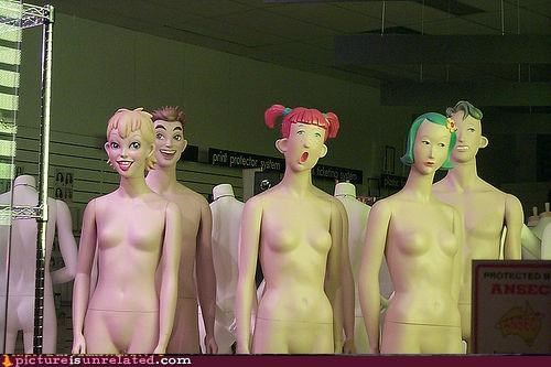 faces Mannequins retail scary shopping wtf
