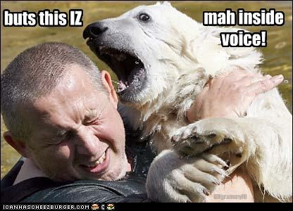 bear,caption,captioned,inside,inside voice,loud,polar bear,voice,volume,yelling