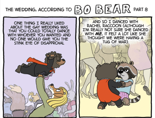 comics of a bear going to a wedding