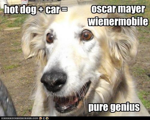 hot dog + car = oscar mayer wienermobile pure genius