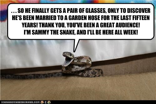 . . . SO HE FINALLY GETS A PAIR OF GLASSES, ONLY TO DISCOVER HE'S BEEN MARRIED TO A GARDEN HOSE FOR THE LAST FIFTEEN YEARS! THANK YOU, YOU'VE BEEN A GREAT AUDIENCE! I'M SAMMY THE SNAKE, AND I'LL BE HERE ALL WEEK!