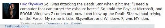 Fictional Facebook Fun parody star wars technology windows
