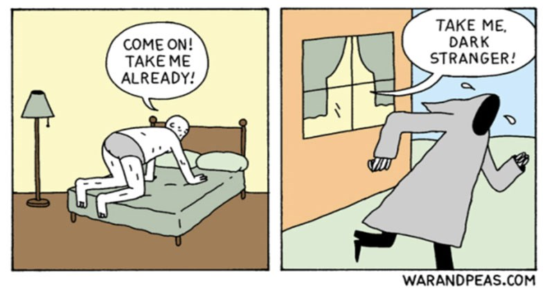 Funny, cynical, nihilistic comics from War and Peas, robots, death, tinder.