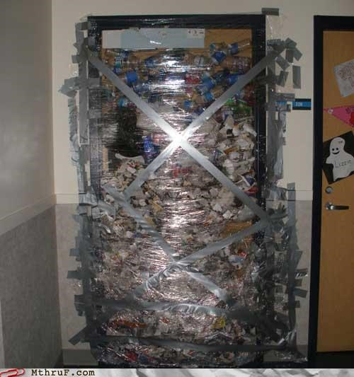 awesome co-workers not boredom bottles college cubicle boredom cubicle prank cubicle rage dickhead co-workers dickheads disaster door dorm duct tape dumb submission garbage mess not work old prank prank pwned rage recycling saran wrap sass screw you sculpture sneaky trash unoriginal wiseass wrapping - 3489950464