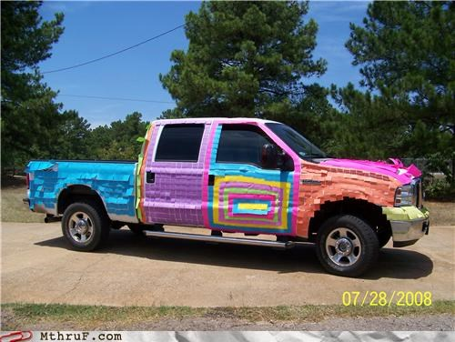 art awesome boredom colorful covered creativity in the workplace cubicle prank decoration dickhead co-workers mess neon pickup post its prank pwned rainbow screw you sculpture truck vehicle wasteful wiseass wrapping