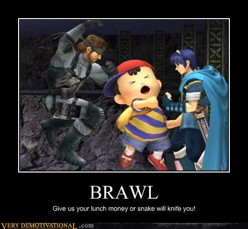 BRAWL Give us your lunch money or snake will knife you!