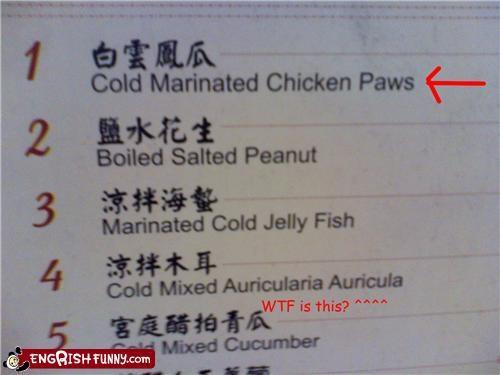 chicken food menu paws