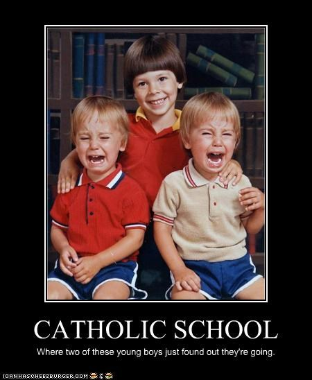 CATHOLIC SCHOOL Where two of these young boys just found out they're going.