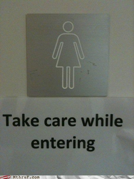 bad design,basic instructions,bathroom,bathroom sign,busted,confusion,cubicle fail,dickhead co-workers,dickheads,dirty,dumbass,euphemism,gender,gross,innuendo,official sign,poor choice of words,sass,signage,wiseass,womens-bathroom