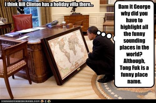 barack obama,bill clinton,childish,George Bush,Maps,Oval Office