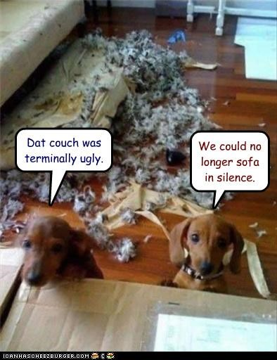 Dat couch was terminally ugly. We could no longer sofa in silence.