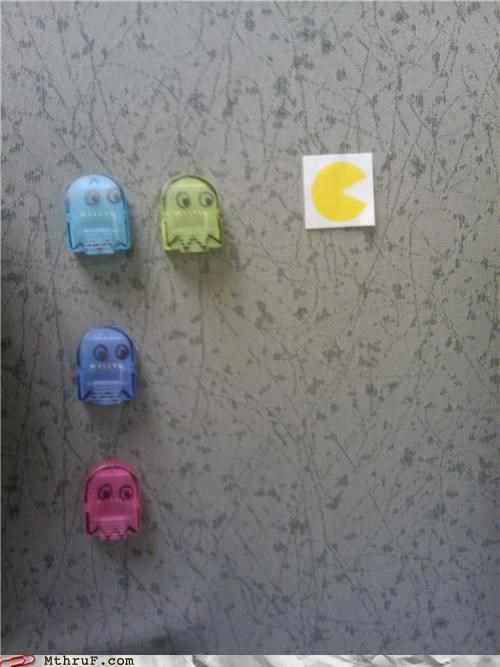 art beep bop boop beep boredom cartoons creativity in the workplace cubicle boredom cubicle hell decoration depressing eat them dots ghetto ghosts hardware nerd decor pac man pins Sad thumbtacks tragic video game