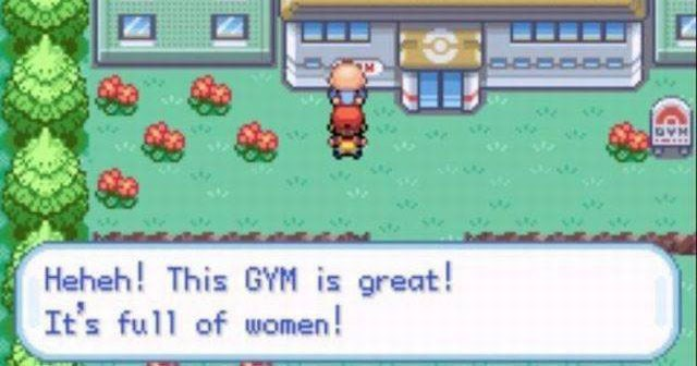"Funny meme about gaming, video games, pokemon, nintendo, mario, skyrim, super smash brothers, cover photo is a scene from pokemon in which ash says ""heheh! this gym is great! it's full of women."""