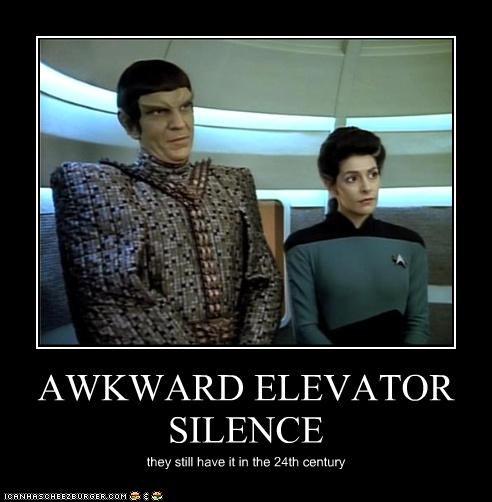 Awkward elevator Marina Sirtis sci fi Shatnerday Star Trek TV - 3497647616