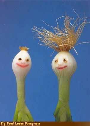 bulb onions faces fruits-veggies haircut onions shoots - 3497974016
