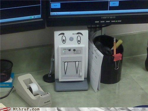 anthropomorphic boredom cartoons creativity in the workplace creepy cubicle boredom dead eyes decoration device equipment face hardware haunting judgmental maybe a vampire i dunno nerd decor nightmare personification printer Sad sass sculpture stapler teeth Terrifying TGIF time to drink walrus