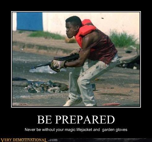 be prepared,lifejacket,garden gloves