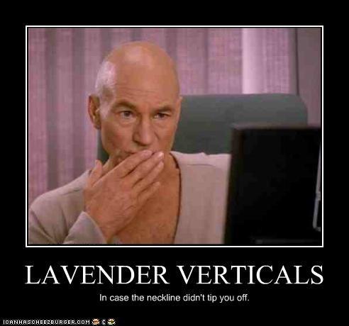 LAVENDER VERTICALS In case the neckline didn't tip you off.