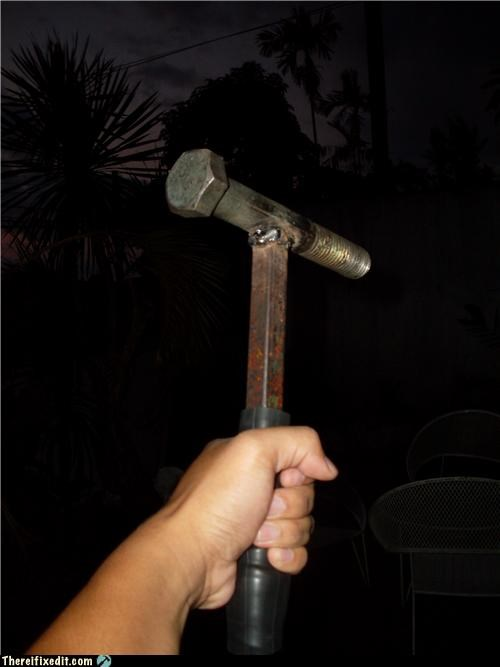 hammer,recycling-is-good-right,screw,use what you have,weapon