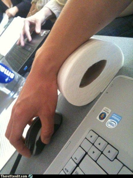 arm rest computer toilet paper wrist