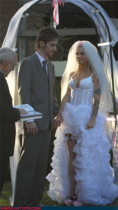 bride,bride wearing clogs,Crazy Brides,crazy wedding dress,fashion is my passion,funny wedding photos,groom,mullet bridal gown,mullet dress,sexy wedding dress,surprise,tattoo bride,were-in-love,weird wedding photo,wtf