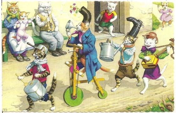 a list of cat vintage postcards
