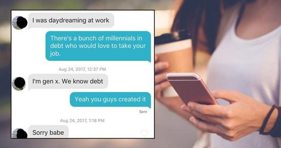 Funny Tinder conversations From Tinder Dads instagram account, woman trolling older men on Tinder.