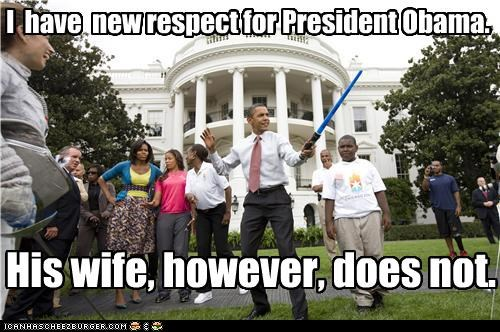 barack obama,dork,light saber,Malia Obama,Michelle Obama,respect,Sasha Obama,star wars