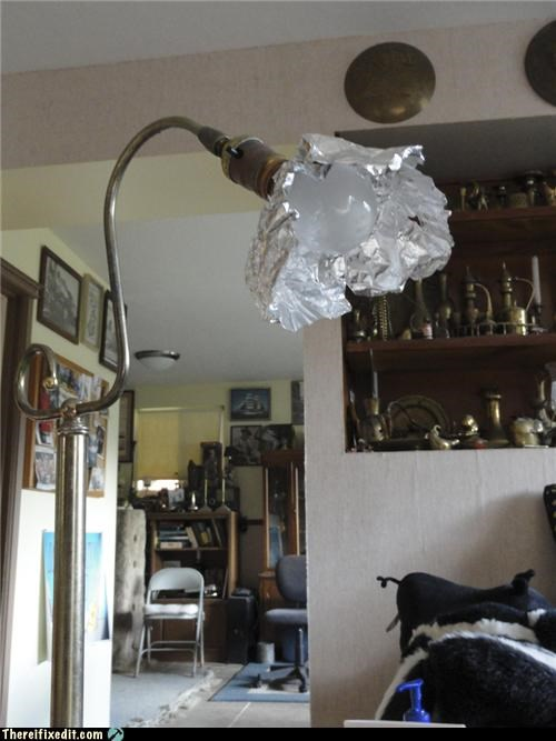 light living room reading lamp tin foil