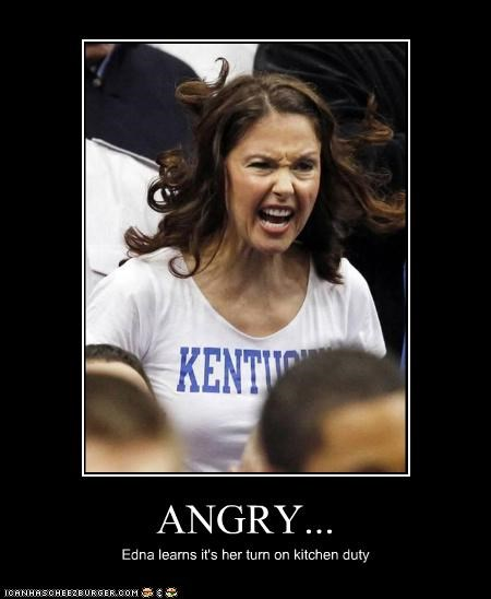 ANGRY... Edna learns it's her turn on kitchen duty