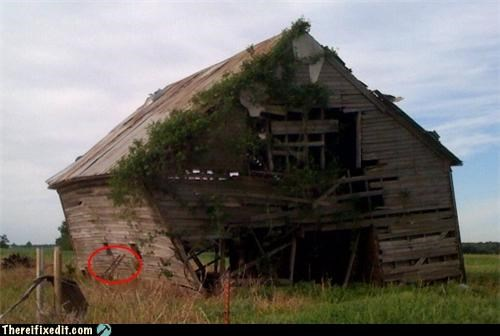 barn leaning Mission Improbable propped up unstable - 3518116352