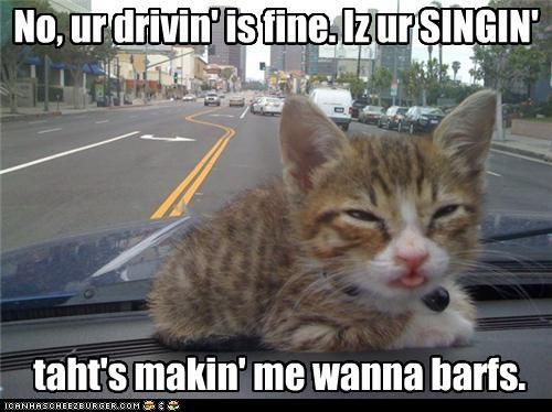 No, ur drivin' is fine. Iz ur SINGIN' taht's makin' me wanna barfs.