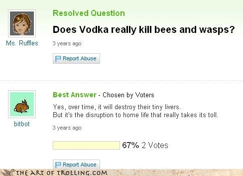 abuse,bees,kill,liver,vodka
