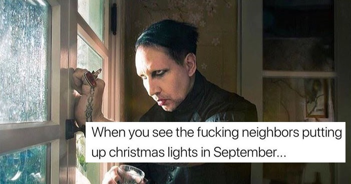 Funny memes about MArilyn Manson, goths, politics, the uk, fall, christmas, september, school, dating, friendship, dogs, animals, cats, life, cover is marilyn manson looking out a window.