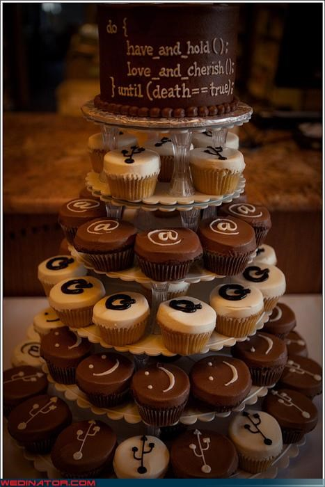 cupcakes,Dreamcake,HTML,l33t cake,nerds,Sheer Awesomeness,themed wedding cake,USB,Wedding Themes