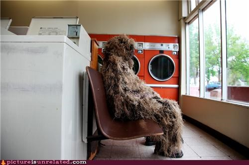 costume,ghillie suit,laundromat,laundry,monster,wtf