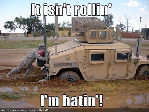 cars,humvee,military,mud,rollinhatin,soldier,stuck
