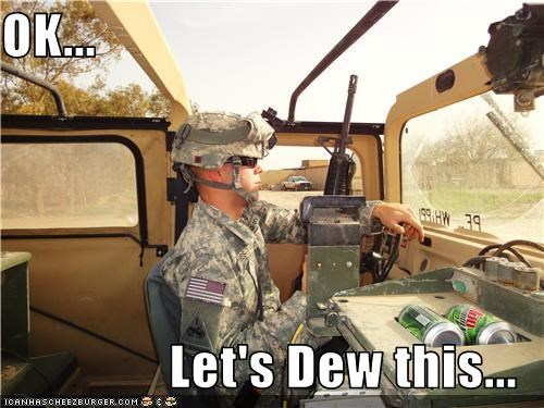driving,gun,junk food,mountain dew,soldiers