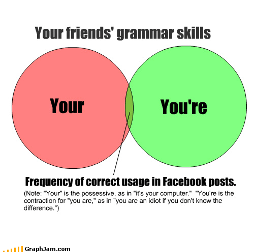 computer contraction differences facebook frequency grammar idiot possessive skills venn diagram your youre - 3526290944