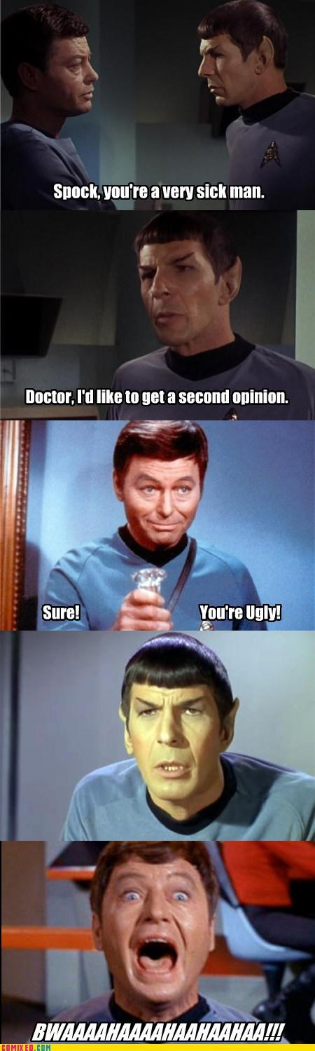 bones,jokes,medical care,Rodney Dangerfield,Spock,Star Trek