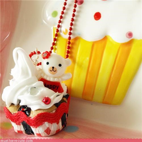 bear cake cheery cupcake frosting happy Jewelry necklace pendant sweet - 3526845696