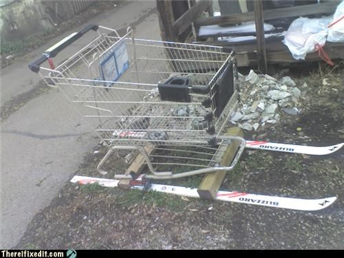 alcohol,engine,shopping cart,ski