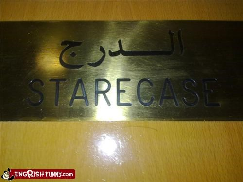 g rated,sign,staircase