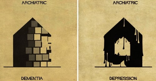 architecture illustrations describing mental conditions
