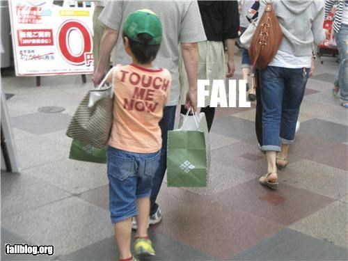 "Parenting FAIL Child wearing a shirt that says ""TOUCH ME NOW"""