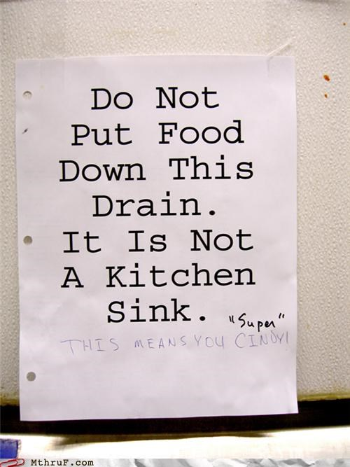 awesome co-workers not basic instructions busted clog cubicle rage dickhead co-workers dumb food fridge politics gross hate lazy leftovers mess office kitchen paper signs passive aggressive rage sass screw you signage sink wiseass - 3534156800