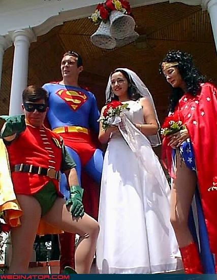 Crazy Brides,crazy groom,fashion is my passion,Hall of Justice,olive garden,robin,super friends,superman,surprise,were-in-love,wedding party,Wedding Themes,wonder woman