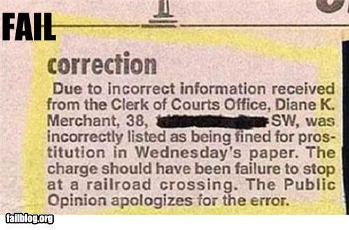 correction failboat newspaper prostitute traffic ticket - 3538842112